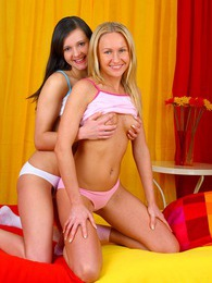 Two skinny girlfriends love to get really dirty together pictures at sgirls.net