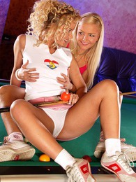 Two lesbian blondes toying both their tight pleasure holes pictures at lingerie-mania.com