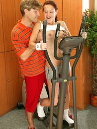 Sporty teenager gets fucked by the instructor in the gym pictures