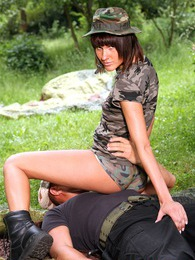 Horny army teenie is sucking a hard dick in dense bushes pictures