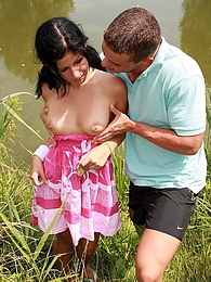 Pierced teenage girl gets her virgin pussy fucked outdoor pictures at adspics.com