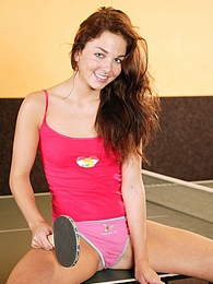 Horny teen masturbating her wet snatch on a pingpong table pictures at adspics.com