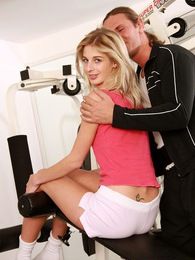 Sporting teenage blonde gets fucked by her own instructor pictures at freekilomovies.com