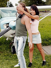Naughty teen cutie riding a stiff cock near an airplane pictures at adipics.com