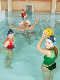 Five waterpolo playing teenagers toying eachothers pussy pictures at dailyadult.info