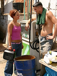 Willing teen with erect boobs pounded at the pump station pictures at adipics.com