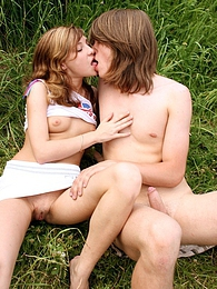 Barely legal teenage brunette gets pounded hard outdoor pictures at adspics.com