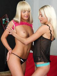 Platinum blonde teen lesbians strip and lick their pussies pictures at kilosex.com