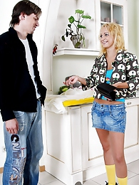 Innocent blonde teenager gets fucked rough in a kitchen pictures at adipics.com