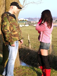 Brunette Dutch teenage girl gets pounded in an open field pics