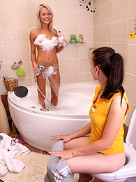 The girls have a lesbian adventure when they take a bath pictures at adspics.com