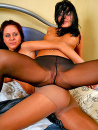 Naughty gals stripping to their control top hose and frolicking on the bed pictures at adspics.com