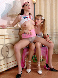 Nylon clad babe seducing her girlfriend into hot muff-diving and fingering pictures at freekilomovies.com