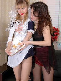 Kinky mistress in black pantyhose luring her French maid into hot lesbo sex pictures at freekilomovies.com