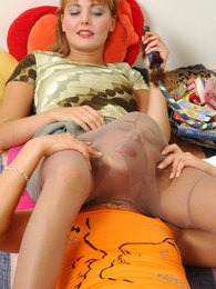 Wanton babes encase their faces in shiny pantyhose licking nyloned pussies pictures at sgirls.net