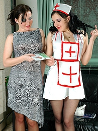 Naughty babe in control top tights seducing nurse into hot pantyhose action pictures at freekiloclips.com