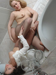 Nylon clad babes launching into lez pantyhose action right in the bathroom pictures at sgirls.net