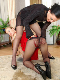 French maid in elegant black pantyhose forced into hot girl-on-girl action pictures