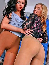 Irresistibly seductive babes in soft silky pantyhose getting down and dirty pictures at sgirls.net