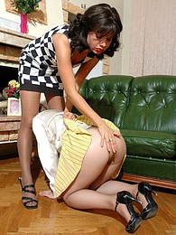 Pony-tailed gal getting her nyloned ass spanked before kiss-n-lick action pictures at freekilosex.com