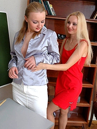 Sexy coed seducing her teacher into wild lez sex without taking off tights pictures at kilogirls.com