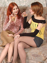 Filthy gals in sexy pantyhose drinking wine longing for frenzied oral games pictures at adspics.com