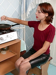 French maid showing all her tricks of muff-diving through silky pantyhose pictures at freekilosex.com