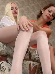 Seductive blondie in white tights revealing her desire to taste yummy pussy pictures