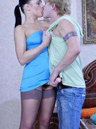 Kinky brunette rims and ass fingers her guy before using her rigid strapon pictures at freekiloclips.com