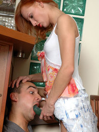 Cutie takes her chance to put to work a strap-on in hot quickie with a guy pictures at find-best-tits.com