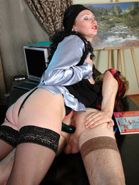 Strap-on armed chick preparing sissy guy's asshole for hard anal session pictures at sgirls.net