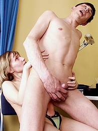 Voluptuous chick giving co-worker new fucking sensation using her strap-on pictures at freekiloclips.com