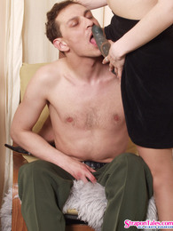 Amazing ass-riding entertainment with lewd guy and strap-on armed hottie pictures at kilotop.com