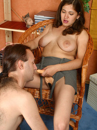 Bigtitted chick eagerly exploring guy's anal passage with her huge strap-on pictures at dailyadult.info