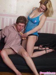 Filthy guy can't hold back craving for strap-on fucking with his girlfriend pictures