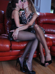 Two lez gals show off their slim pantyhosed legs before mutual slit lapping pictures at find-best-mature.com