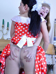 Lesbo babes in vintage polka-dot dresses lick sleek pantyhose clad pussies pictures at sgirls.net