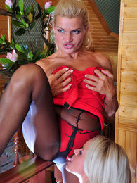 Blonde sapphos use their beloved lacy pantyhose for lez play in the attic pictures