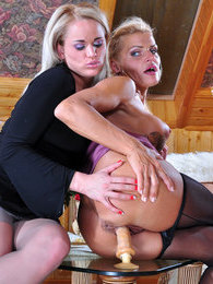 Unabashed lesbo in seamed Cuban heel tights lures a shopgirl into dildo sex pictures at sgirls.net
