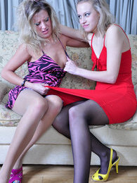 Two hot-tempered babes in sheer-to-waist hose reconcile after wet lez 69ing pictures at find-best-ass.com