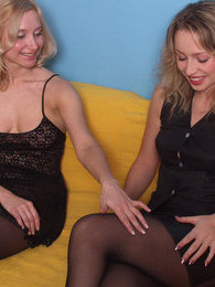 Gorgeous chicks in black pantyhose showing nasty tricks of muff-munching pictures