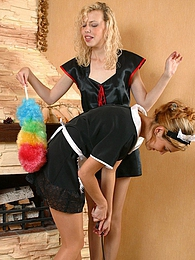 French maids in soft silky tights petting each other with whatever's handy pictures