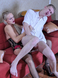 Unsuspecting guy getting attacked by a strapon-armed and sex-hungry domina pictures