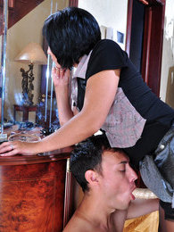 Freaky gal prepares a strapon surprise for her guy ready to loosen his bum pictures at kilogirls.com