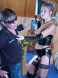 Lewd chick breaks guy's resistance while strap-on fucking his tight asshole pictures at freekilosex.com