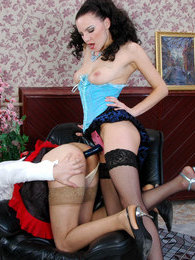 Sultry babe punishing her sissified French maid strap-on fucking his ass pictures at freekilomovies.com