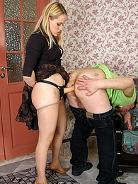 Curious next-door guy getting nailed by lascivious strap-on armed blondie pictures