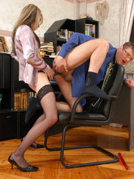 Hot secretary with strap-on pumping the shit out of guy's asshole in office pictures