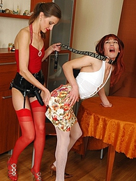 Hottie with strap-on dominating redhead cutie on leash playing dirty games pictures at kilopills.com