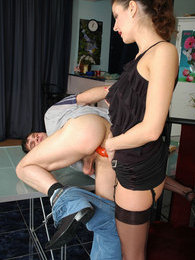 Naughty chick strap-on fucking eager guy from both his ends right on table pictures